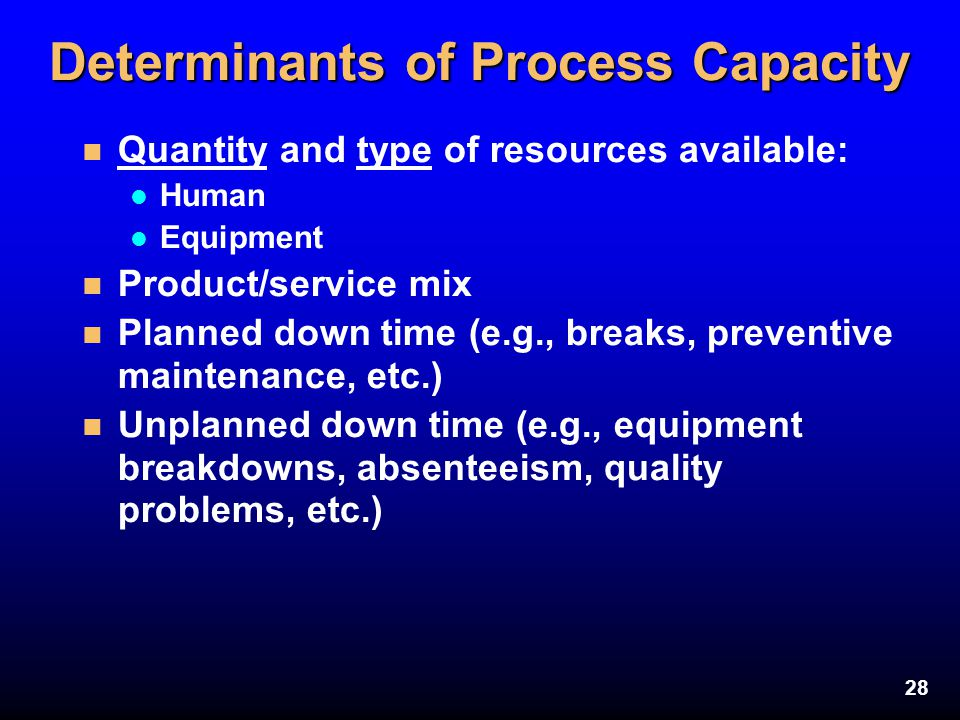 28 Determinants of Process Capacity n Quantity and type of resources available: l Human l Equipment n Product/service mix n Planned down time (e.g., b