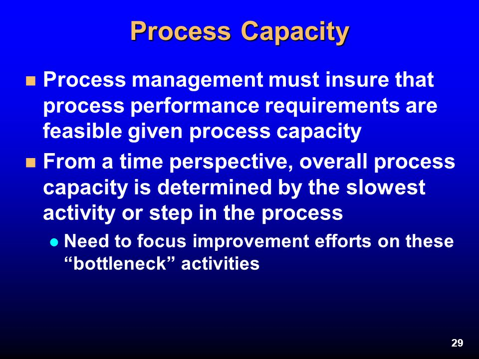29 Process Capacity n Process management must insure that process performance requirements are feasible given process capacity n From a time perspecti