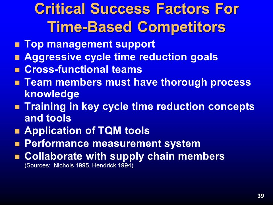 39 Critical Success Factors For Time-Based Competitors n Top management support n Aggressive cycle time reduction goals n Cross-functional teams n Tea