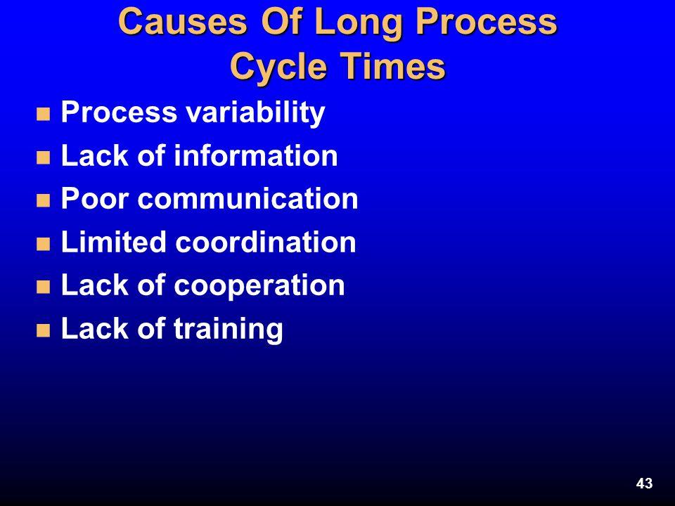 43 Causes Of Long Process Cycle Times n Process variability n Lack of information n Poor communication n Limited coordination n Lack of cooperation n