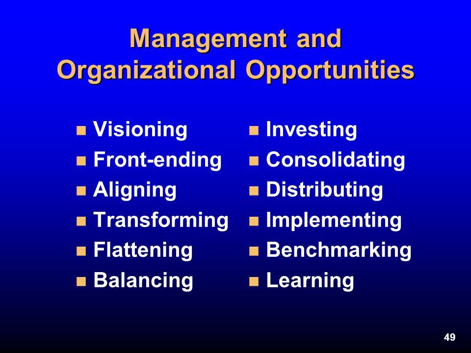 49 Management and Organizational Opportunities n Visioning n Front-ending n Aligning n Transforming n Flattening n Balancing n Investing n Consolidati