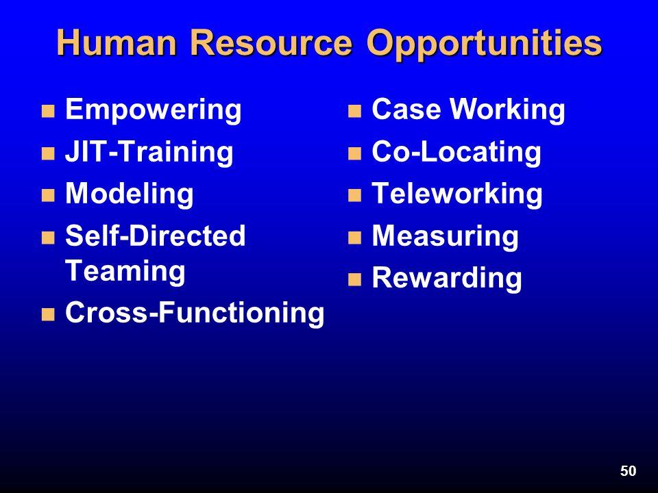 50 Human Resource Opportunities n Empowering n JIT-Training n Modeling n Self-Directed Teaming n Cross-Functioning n Case Working n Co-Locating n Tele
