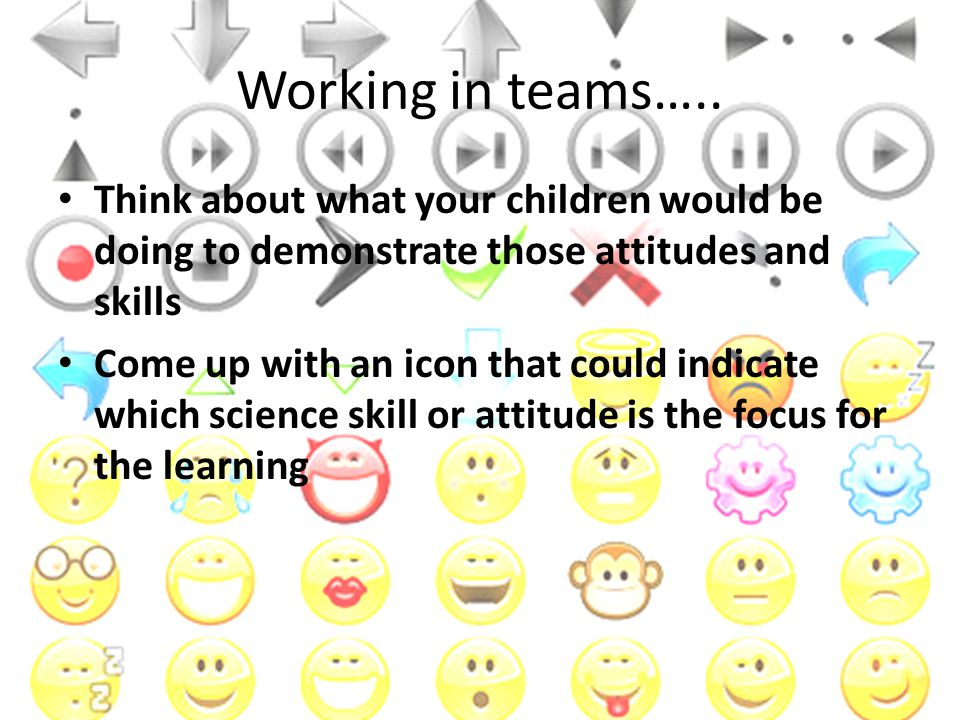 Working in teams….. Think about what your children would be doing to demonstrate those attitudes and skills Come up with an icon that could indicate w