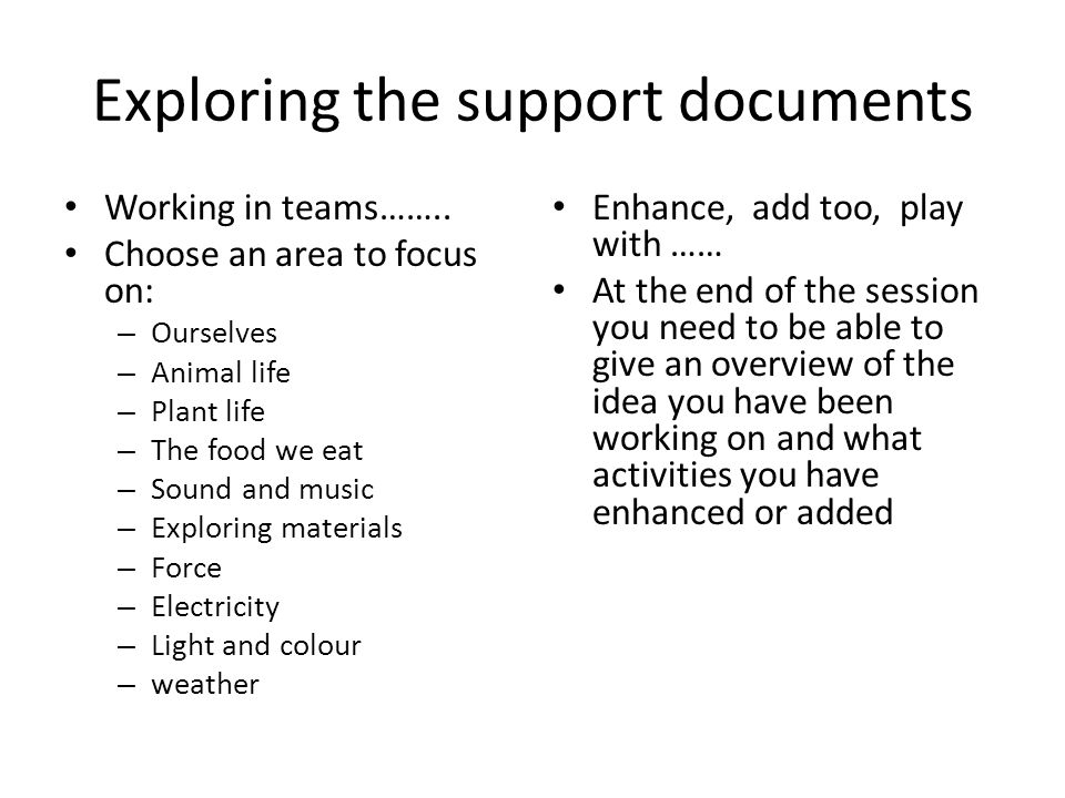 Exploring the support documents Working in teams…….. Choose an area to focus on: – Ourselves – Animal life – Plant life – The food we eat – Sound and