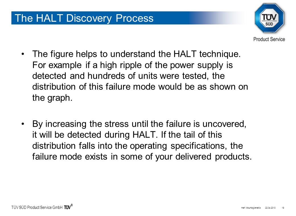 TÜV SÜD Product Service GmbH The HALT Discovery Process The figure helps to understand the HALT technique.