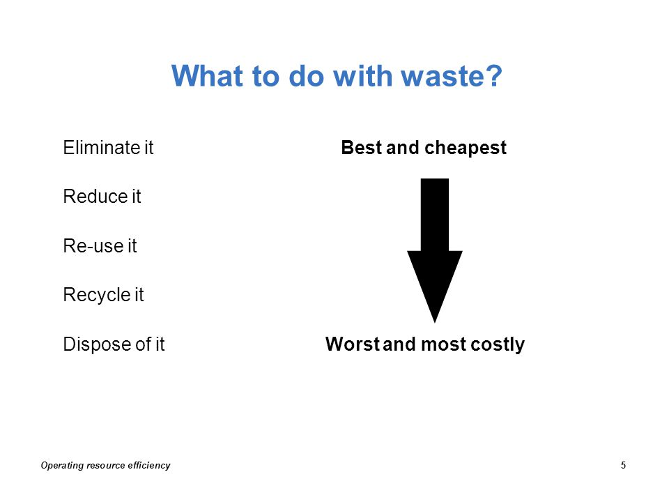 What to do with waste? Eliminate it Best and cheapest Reduce it Re-use it Recycle it Dispose of it Worst and most costly Operating resource efficiency