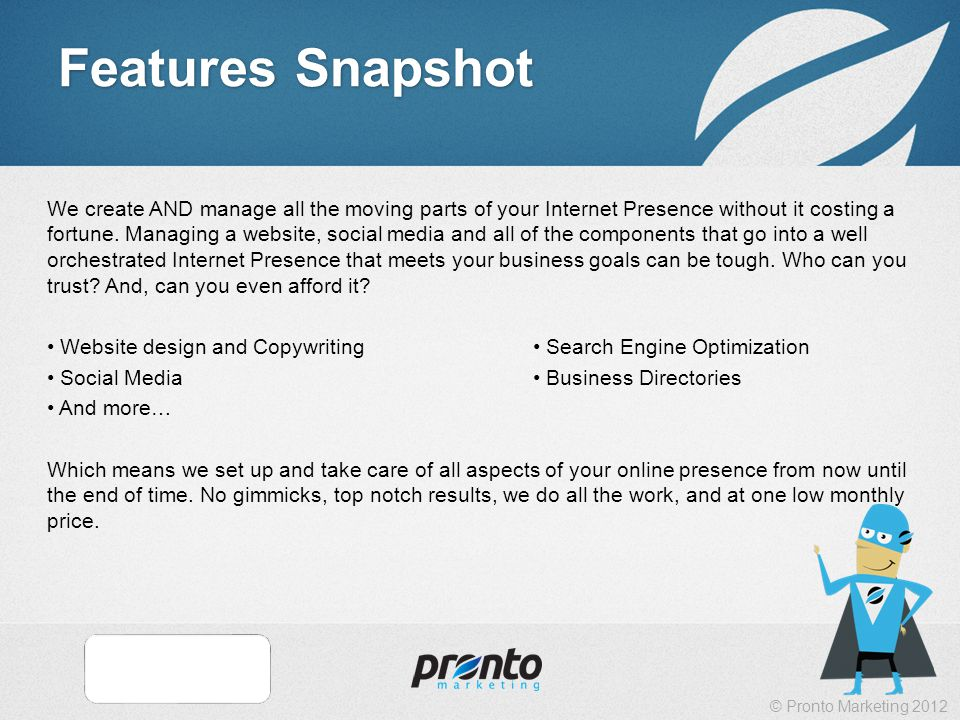 © Pronto Marketing 2012 Features Snapshot We create AND manage all the moving parts of your Internet Presence without it costing a fortune.