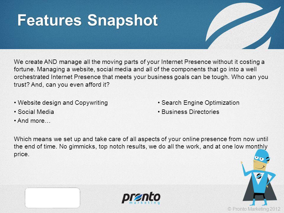 © Pronto Marketing 2012 Pronto Process
