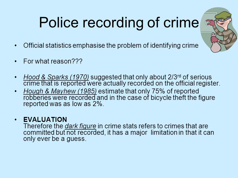 Police recording of crime Offender surveys Belson(1975) carried out an offender survey in which 1445 boys aged 13-16 were interviewed about crime and crime related acts FINDINGS 70% of the sample had been involved in theft from a shop.