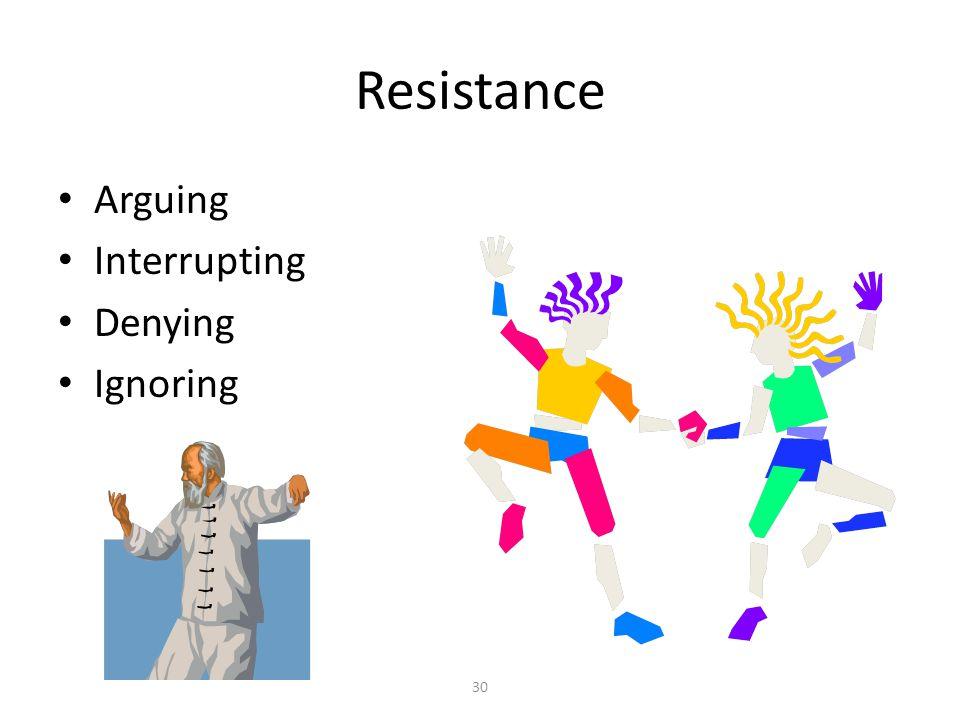 30 Resistance Arguing Interrupting Denying Ignoring