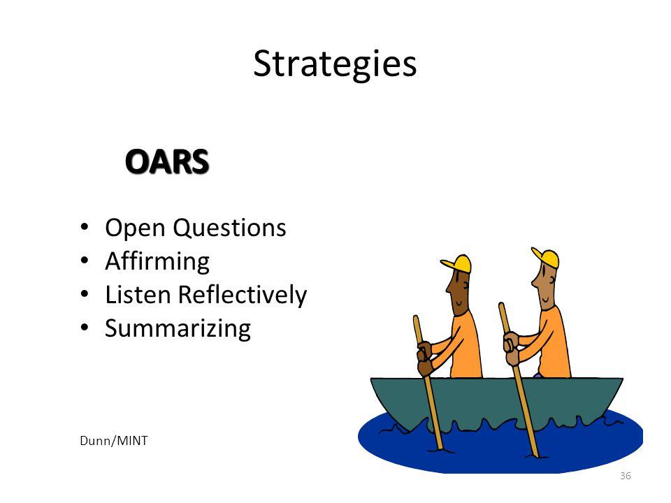 36 Strategies Open Questions Affirming Listen Reflectively Summarizing Dunn/MINT OARS