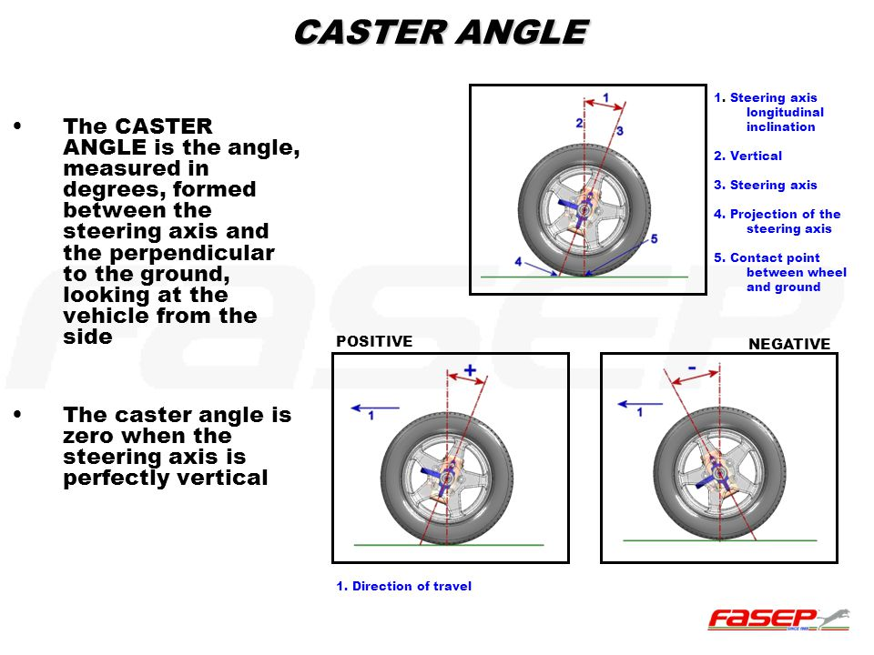 CASTER ANGLE The CASTER ANGLE is the angle, measured in degrees, formed between the steering axis and the perpendicular to the ground, looking at the