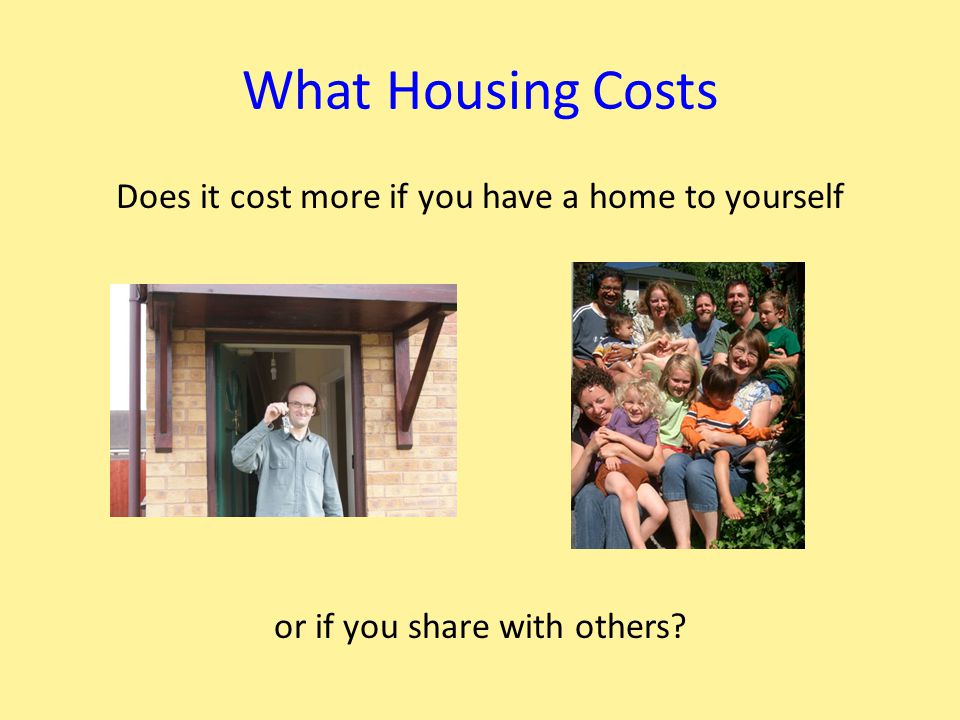 What Housing Costs Does it cost more if you have a home to yourself or if you share with others