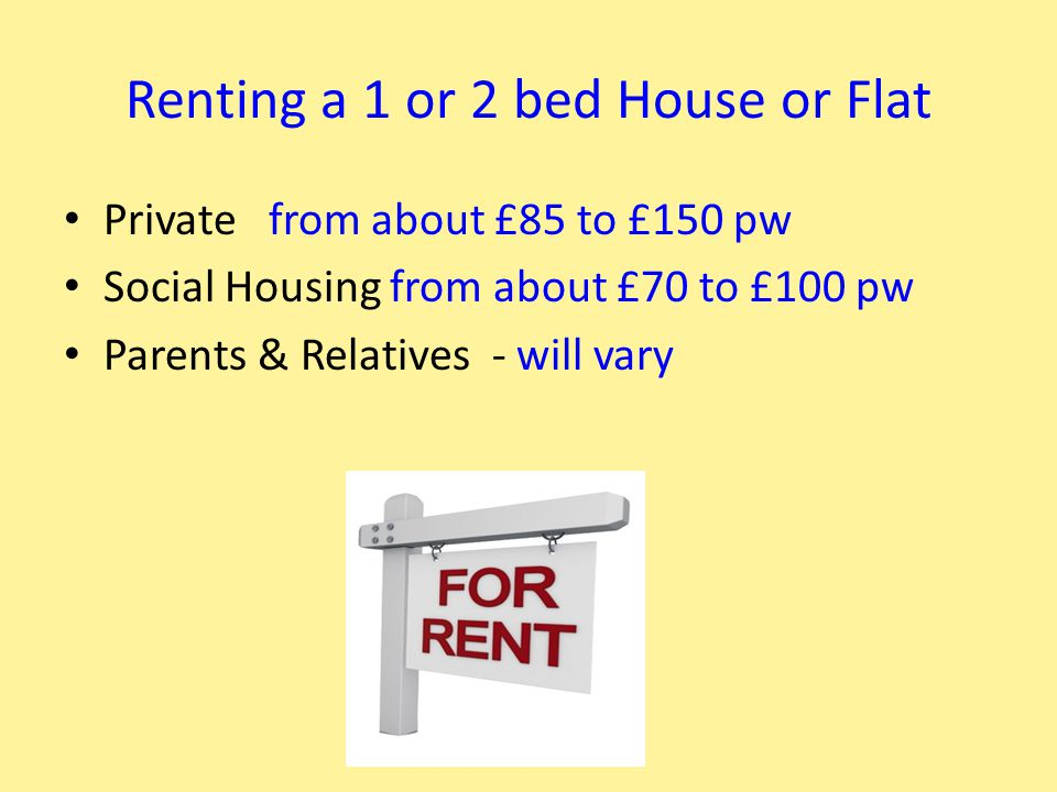 Renting a 1 or 2 bed House or Flat Private from about £85 to £150 pw Social Housing from about £70 to £100 pw Parents & Relatives - will vary