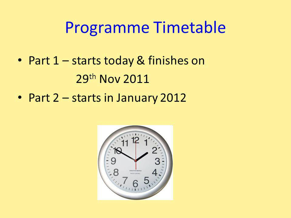 Programme Timetable Part 1 – starts today & finishes on 29 th Nov 2011 Part 2 – starts in January 2012