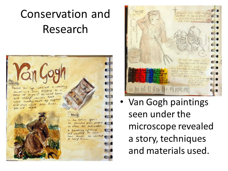 Conservation and Research Van Gogh paintings seen under the microscope revealed a story, techniques and materials used.