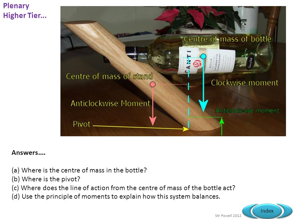 Mr Powell 2012 Index Answers....(a) Where is the centre of mass in the bottle.
