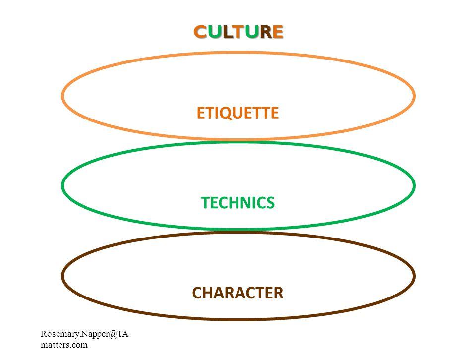 CULTURECULTURECULTURECULTURE TECHNICS CHARACTER ETIQUETTE Rosemary.Napper@TA matters.com