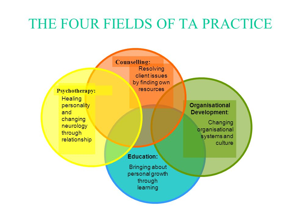 THE FOUR FIELDS OF TA PRACTICE Education: Bringing about personal growth through learning Organisational Development: Changing organisational systems