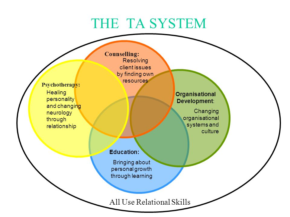 THE TA SYSTEM Education: Bringing about personal growth through learning Organisational Development: Changing organisational systems and culture Couns