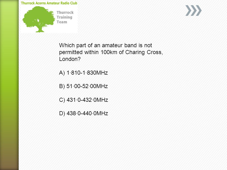 Which part of an amateur band is not permitted within 100km of Charing Cross, London.