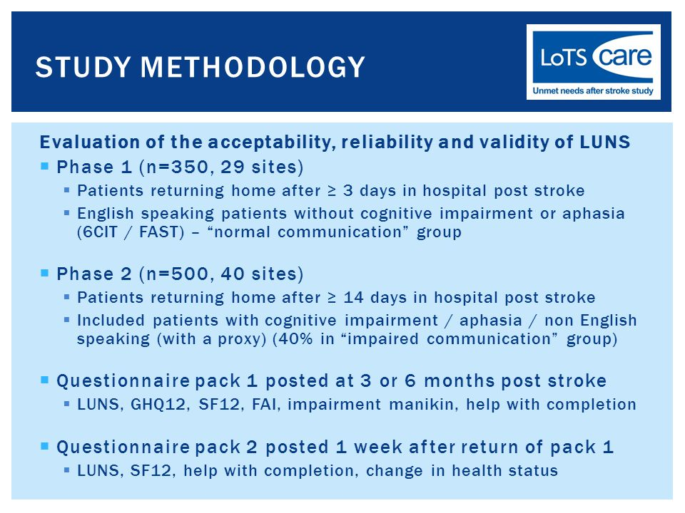 Evaluation of the acceptability, reliability and validity of LUNS  Phase 1 (n=350, 29 sites)  Patients returning home after ≥ 3 days in hospital post stroke  English speaking patients without cognitive impairment or aphasia (6CIT / FAST) – normal communication group  Phase 2 (n=500, 40 sites)  Patients returning home after ≥ 14 days in hospital post stroke  Included patients with cognitive impairment / aphasia / non English speaking (with a proxy) (40% in impaired communication group)  Questionnaire pack 1 posted at 3 or 6 months post stroke  LUNS, GHQ12, SF12, FAI, impairment manikin, help with completion  Questionnaire pack 2 posted 1 week after return of pack 1  LUNS, SF12, help with completion, change in health status STUDY METHODOLOGY