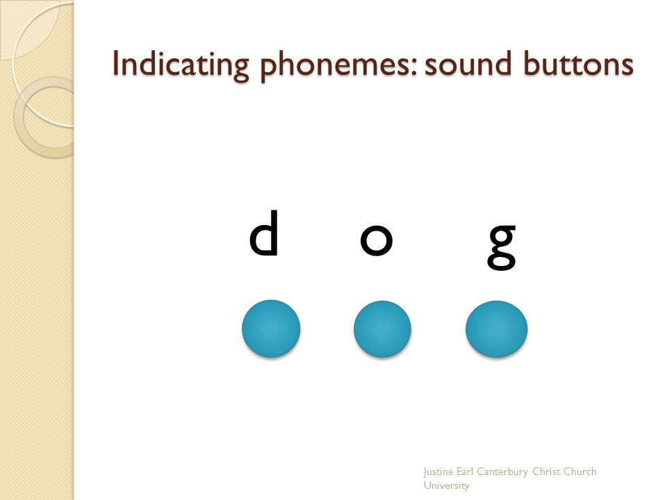 Indicating phonemes: sound buttons d o g Justine Earl Canterbury Christ Church University