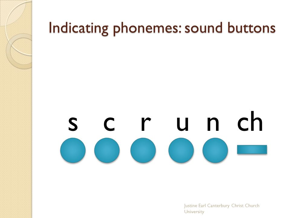 Indicating phonemes: sound buttons s c r u n ch Justine Earl Canterbury Christ Church University