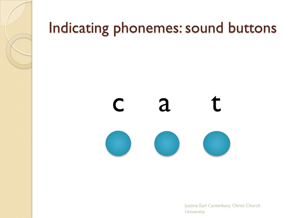 Indicating phonemes: sound buttons c a t Justine Earl Canterbury Christ Church University