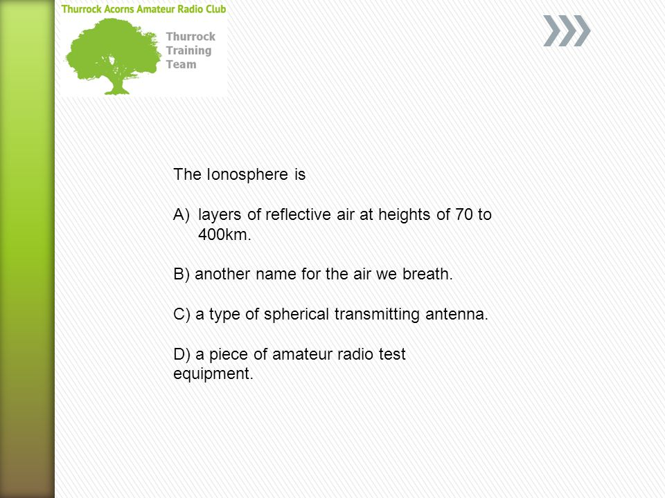 The Ionosphere is A)layers of reflective air at heights of 70 to 400km. B) another name for the air we breath. C) a type of spherical transmitting ant