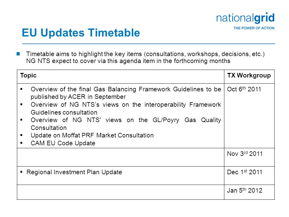 EU Updates Timetable  Timetable aims to highlight the key items (consultations, workshops, decisions, etc.) NG NTS expect to cover via this agenda it