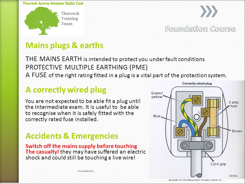 Mains plugs & earths A correctly wired plug THE MAINS EARTH is intended to protect you under fault conditions You are not expected to be able fit a plug until Switch off the mains supply before touching Accidents & Emergencies reproduced from the RSGB publication Foundation Licence Now! A FUSE of the right rating fitted in a plug is a vital part of the protection system.