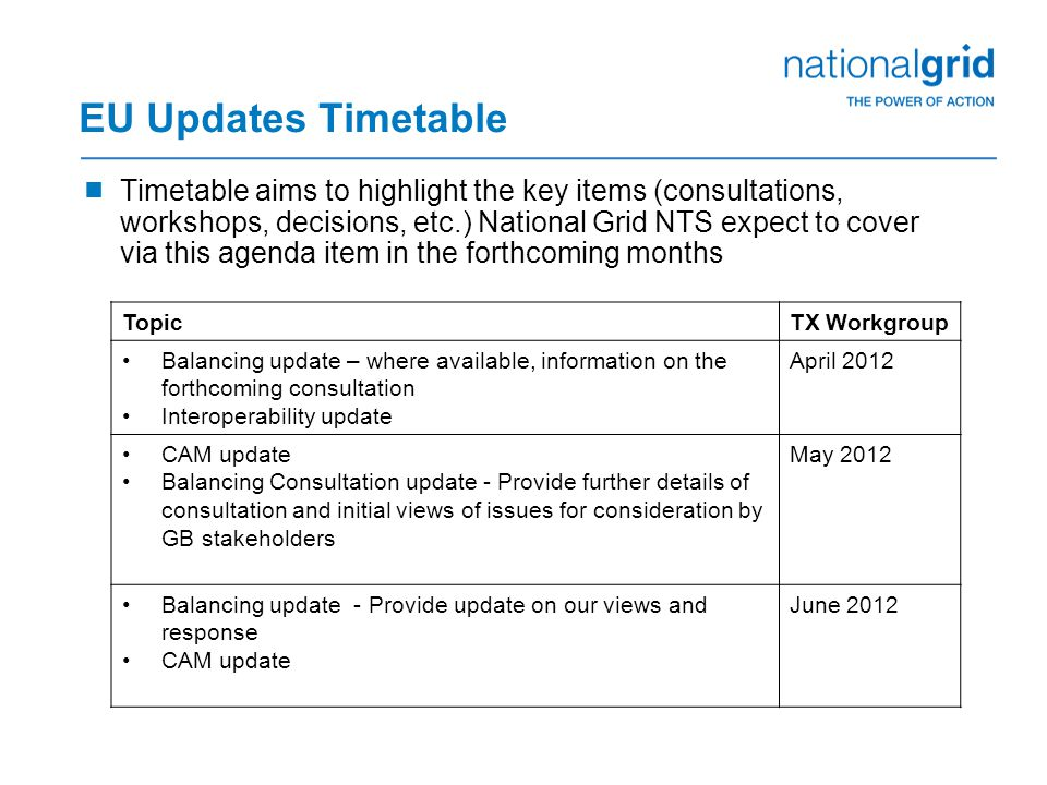 EU Updates Timetable  Timetable aims to highlight the key items (consultations, workshops, decisions, etc.) National Grid NTS expect to cover via thi