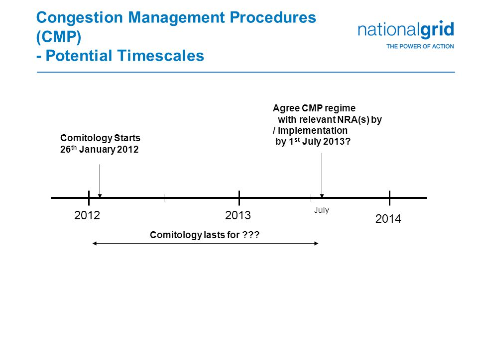 Congestion Management Procedures (CMP) - Potential Timescales 2014 20132012 Comitology Starts 26 th January 2012 Comitology lasts for .