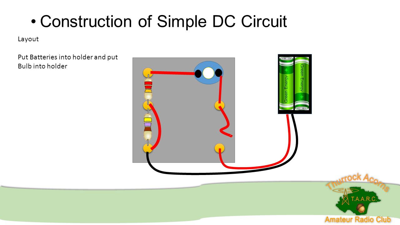 Construction of Simple DC Circuit Layout Put Batteries into holder and put Bulb into holder
