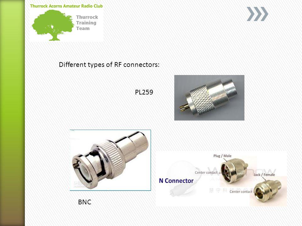 Different types of RF connectors: BNC PL259