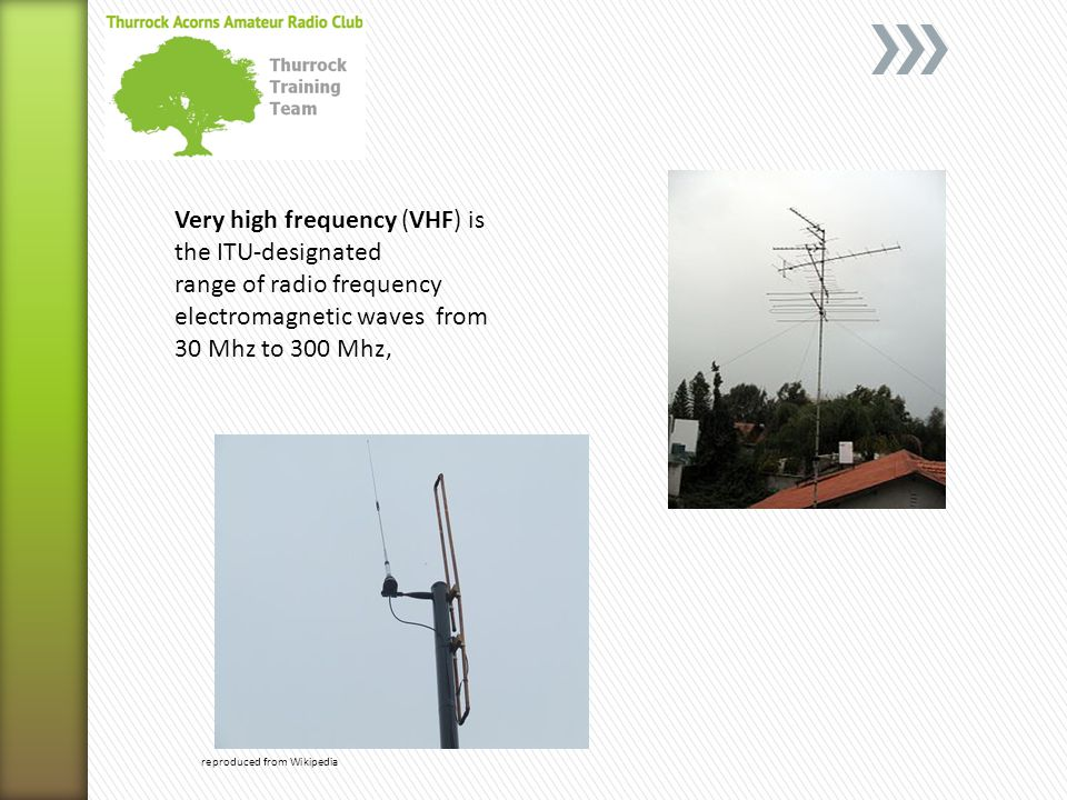 reproduced from Wikipedia Very high frequency (VHF) is the ITU-designated range of radio frequency electromagnetic waves from 30 Mhz to 300 Mhz,
