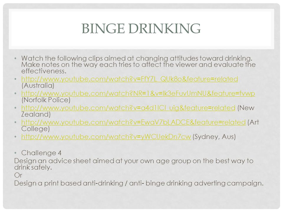 BINGE DRINKING Watch the following clips aimed at changing attitudes toward drinking.