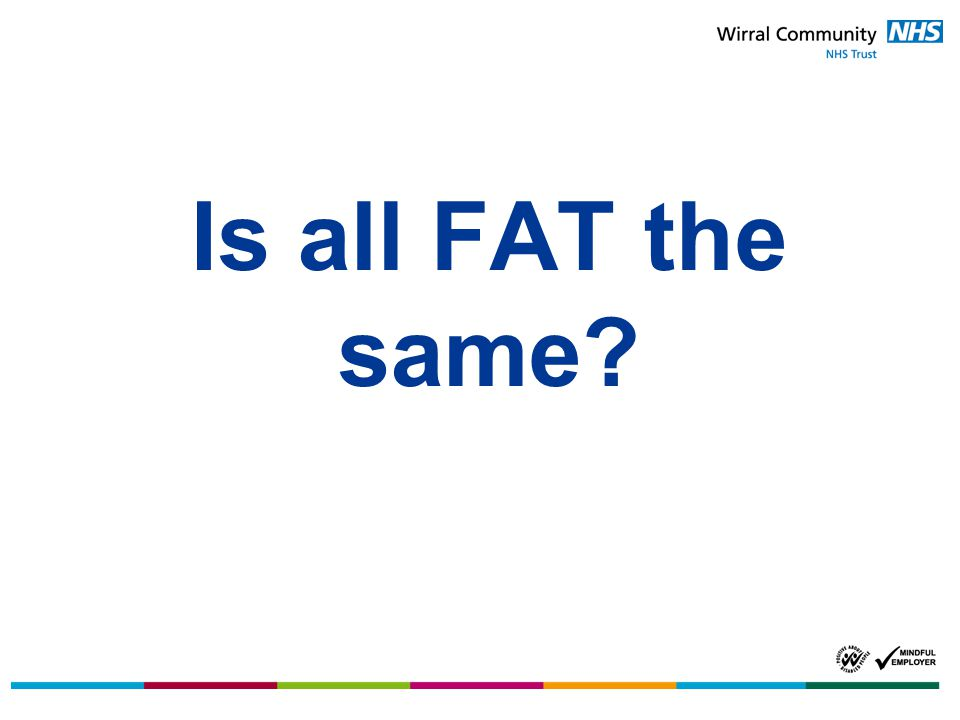 Saturated fat Saturated fat is the bad type of fat and the one that we need to really watch in our diets.