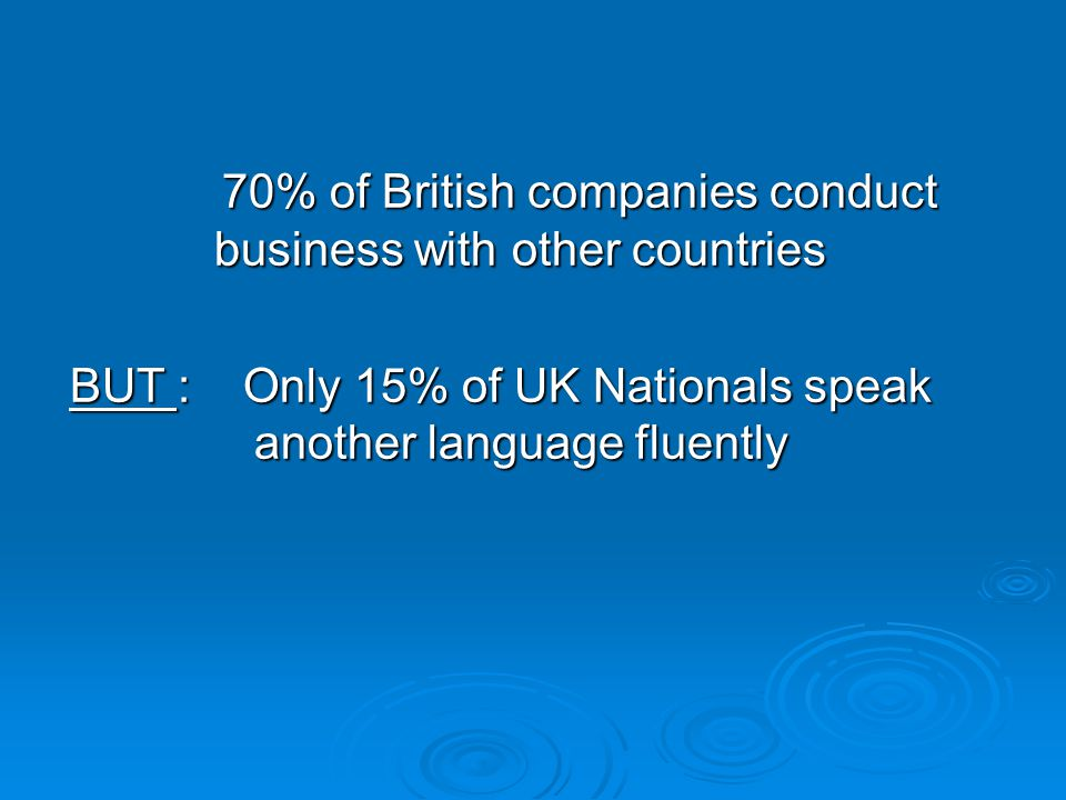 70% of British companies conduct business with other countries 70% of British companies conduct business with other countries BUT : Only 15% of UK Nationals speak another language fluently