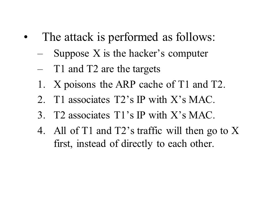 The attack is performed as follows: –Suppose X is the hacker's computer –T1 and T2 are the targets 1.X poisons the ARP cache of T1 and T2. 2.T1 associ