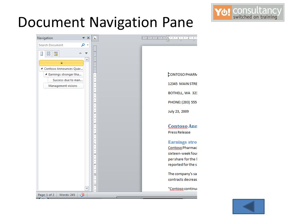 Document Navigation Pane