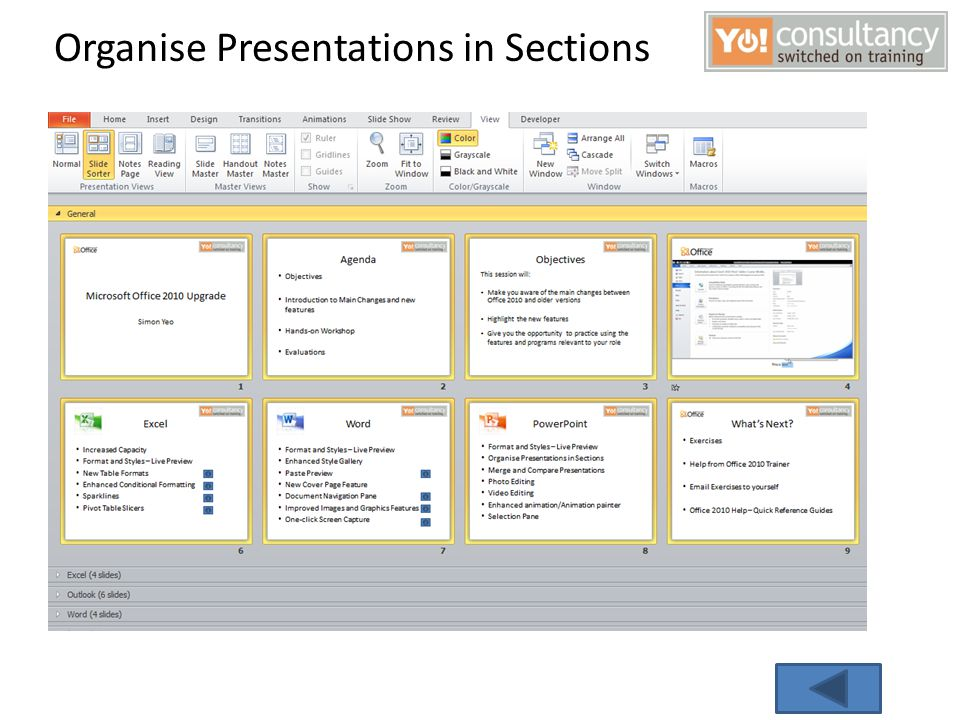 Organise Presentations in Sections