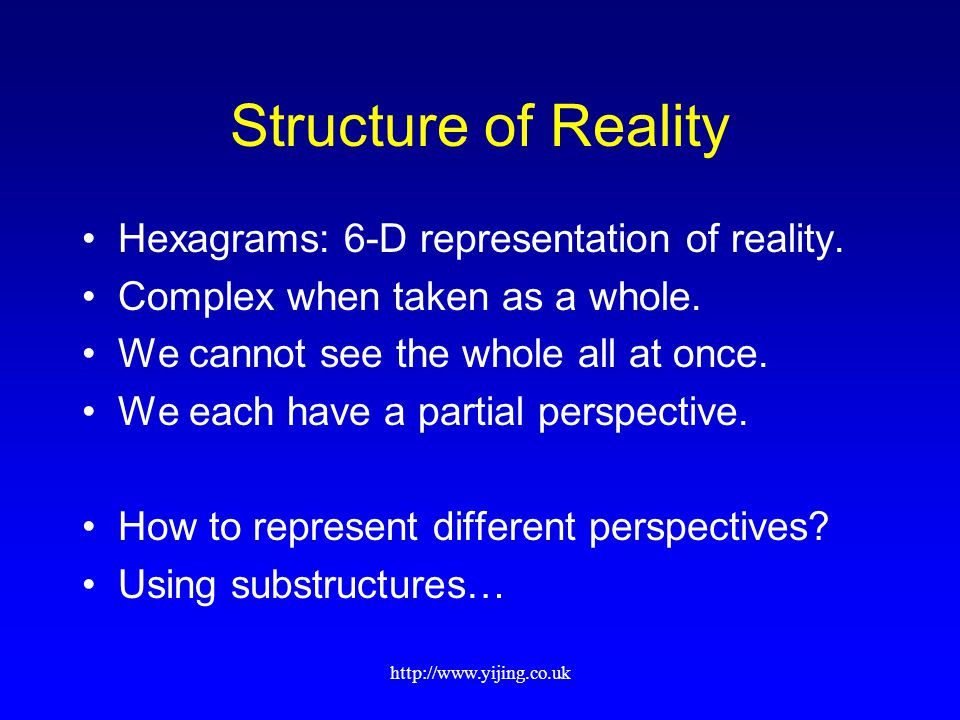 http://www.yijing.co.uk Structure of Reality Hexagrams: 6-D representation of reality. Complex when taken as a whole. We cannot see the whole all at o