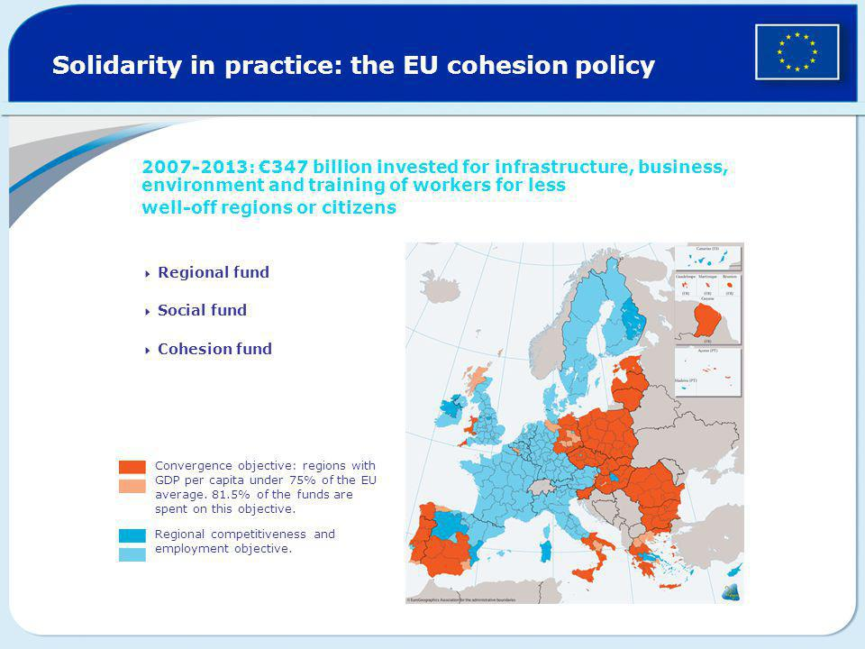Solidarity in practice: the EU cohesion policy 2007-2013: €347 billion invested for infrastructure, business, environment and training of workers for