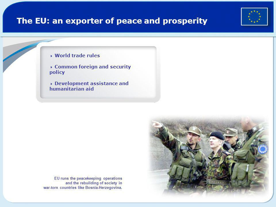 The EU: an exporter of peace and prosperity  World trade rules  Common foreign and security policy  Development assistance and humanitarian aid