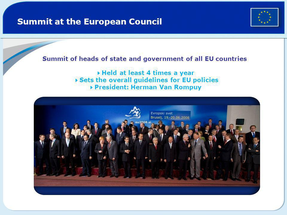 Summit at the European Council Summit of heads of state and government of all EU countries  Held  at least 4 times a year  Sets the overall guideli