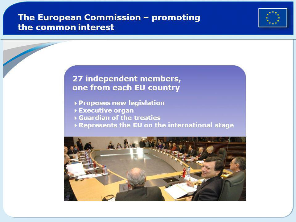 The European Commission – promoting the common interest 27 independent members, one from each EU country  Proposes new legislation  Executive organ