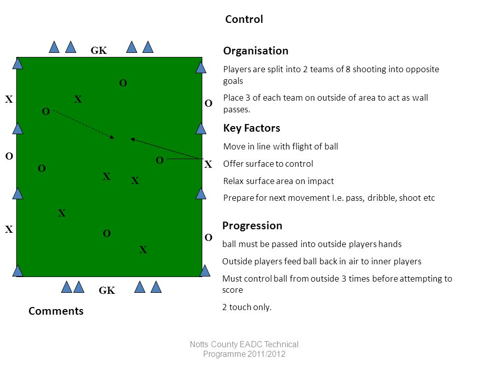 Notts County EADC Technical Programme 2011/2012 Control Organisation Players are split into 2 teams of 8 shooting into opposite goals Place 3 of each