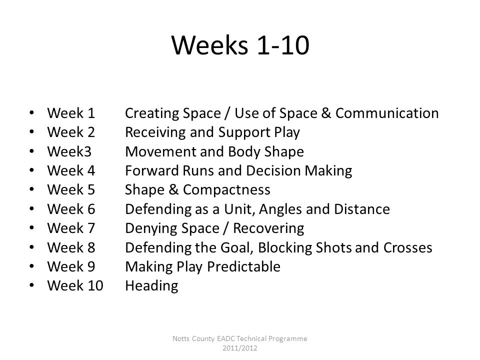 Weeks 1-10 Week 1Creating Space / Use of Space & Communication Week 2Receiving and Support Play Week3Movement and Body Shape Week 4Forward Runs and De
